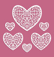set ornamental hearts with lace pattern vector image