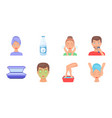 skin care icons in set collection for design face vector image