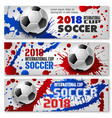 soccer ball banners for sport competition vector image vector image