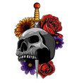 tattoo skull with roses and knife vector image vector image