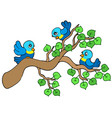 three small birds sitting on branch vector image