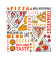 typographic italian pizza and ingredients banner vector image vector image