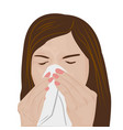 woman sneezing vector image