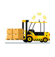 yellow automatic delivery forklift car full of box vector image
