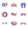 usa day icons set cartoon style vector image