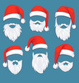 christmas santa claus red hats with white vector image