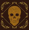 Leaf and Ornamental Skull vector image