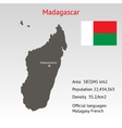 Maps of Madagascar with flag vector image