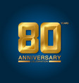 80 years anniversary celebration logotype golden vector image vector image