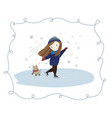 a cute girl skates with her beloved pet vector image vector image
