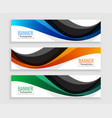 abstract wave web banners set in three colors vector image vector image