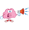 Angry Brain Screaming Into Megaphone vector image vector image