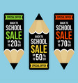 back to school set banner pencil shaped vector image vector image