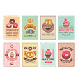 bakery cards design fresh sweet foods cupcakes vector image