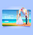 beach wedding cartoon landing page bride and groom vector image vector image