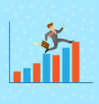 businessman running along growth graph vector image vector image