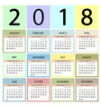 calendar 2018 year week starts with sunday vector image vector image
