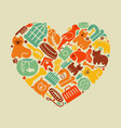 care symbols house pupils in form heart vector image vector image