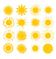 cartoon yellow sun set vector image vector image