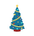 christmas tree in flat vector image vector image