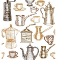 coffee background with utensils vector image vector image