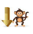 cute chimpanzee little monkey and down arrow mark vector image vector image