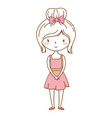 cute girl cartoon stylish outfit dress isolated vector image
