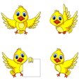 cute yellow bird cartoon collection vector image vector image