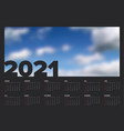 dark calendar template for year 2021 vector image vector image