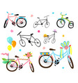 decorated kids bicycles and bikes festival clipart vector image