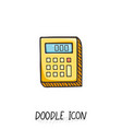 doodle calculator icon vector image