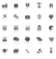 Economy icons with reflect on white background vector image vector image