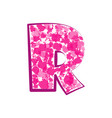 english pink letter r on a white background vector image vector image