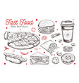 fastfood dishes with drinks hand drawn vector image