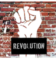 fist sign on brick wall vector image vector image