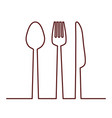 fork knife and spoon icon cutlery and menu vector image vector image