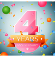 Four years anniversary celebration background vector image vector image