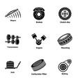 garage icons set simple style