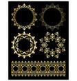 golden decorative design elements - ornaments vector image vector image