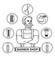 hipster man barber shop monochrome symbols vector image vector image