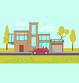 house exterior design flat vector image vector image