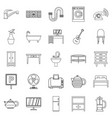 lodging house icons set outline style vector image vector image