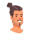 long haired man head avatar beautiful human face vector image