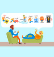 man talking with psychotherapist about phobias vector image vector image