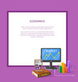 market and economic cartoon with text vector image