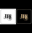 mi initial letter and graphic name m i monogram vector image vector image