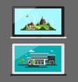 notebook icons notebooks with landscapes on screen vector image vector image