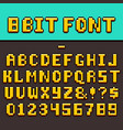 pixel video game fun alphabet and numbers 8-bit vector image vector image