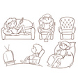 Plain sketches of the lazy people vector image vector image