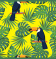 seamless texture tropical pattern with toucan vector image vector image